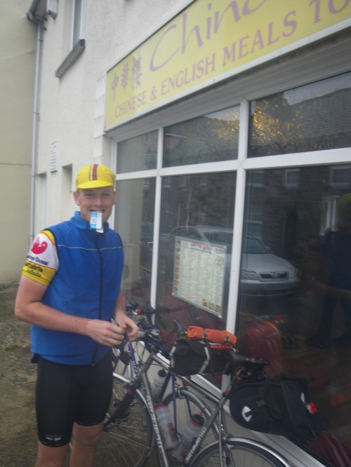 Toby outside the Chinese takeaway in Fishguard